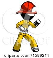 Ink Firefighter Fireman Man Martial Arts Defense Pose Right