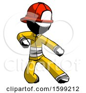 Ink Firefighter Fireman Man Karate Defense Pose Right
