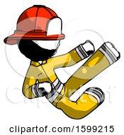Ink Firefighter Fireman Man Flying Ninja Kick Right