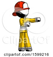 Ink Firefighter Fireman Man Presenting Something To His Left