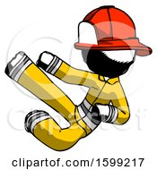 Ink Firefighter Fireman Man Flying Ninja Kick Left