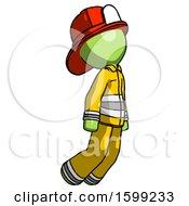 Green Firefighter Fireman Man Floating Through Air Right
