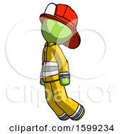 Poster, Art Print Of Green Firefighter Fireman Man Floating Through Air Left