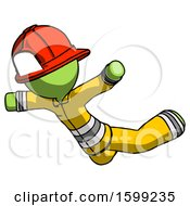 Green Firefighter Fireman Man Skydiving Or Falling To Death