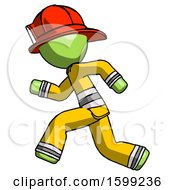 Green Firefighter Fireman Man Running Fast Left