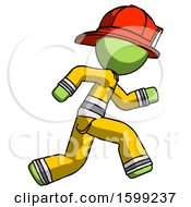 Green Firefighter Fireman Man Running Fast Right