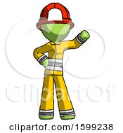 Green Firefighter Fireman Man Waving Left Arm With Hand On Hip