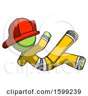 Poster, Art Print Of Green Firefighter Fireman Man Falling Backwards