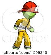 Poster, Art Print Of Green Firefighter Fireman Man Suspense Action Pose Facing Right