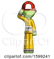 Poster, Art Print Of Green Firefighter Fireman Man Soldier Salute Pose