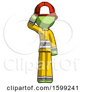Green Firefighter Fireman Man Soldier Salute Pose