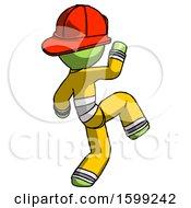 Poster, Art Print Of Green Firefighter Fireman Man Kick Pose Start