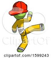 Green Firefighter Fireman Man Kick Pose