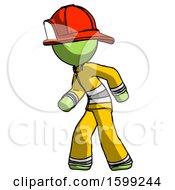 Green Firefighter Fireman Man Suspense Action Pose Facing Left