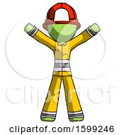 Poster, Art Print Of Green Firefighter Fireman Man Surprise Pose Arms And Legs Out