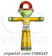 Green Firefighter Fireman Man T Pose Arms Up Standing