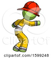 Poster, Art Print Of Green Firefighter Fireman Man Sneaking While Reaching For Something