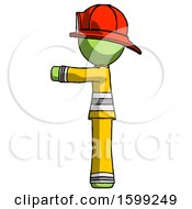 Green Firefighter Fireman Man Pointing Left