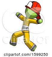 Poster, Art Print Of Green Firefighter Fireman Man Running Away In Hysterical Panic Direction Left