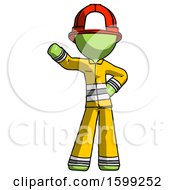 Green Firefighter Fireman Man Waving Right Arm With Hand On Hip