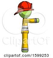 Green Firefighter Fireman Man Pointing Right
