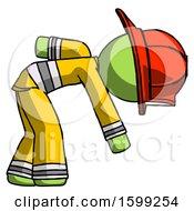 Poster, Art Print Of Green Firefighter Fireman Man Picking Something Up Bent Over