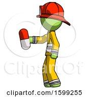 Poster, Art Print Of Green Firefighter Fireman Man Holding Red Pill Walking To Left