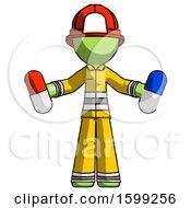 Poster, Art Print Of Green Firefighter Fireman Man Holding A Red Pill And Blue Pill
