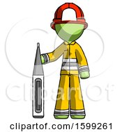 Green Firefighter Fireman Man Standing With Large Thermometer