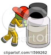 Green Firefighter Fireman Man Pushing Large Medicine Bottle