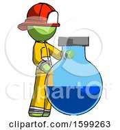 Green Firefighter Fireman Man Standing Beside Large Round Flask Or Beaker