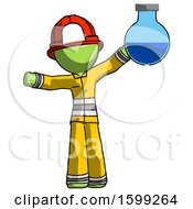 Green Firefighter Fireman Man Holding Large Round Flask Or Beaker