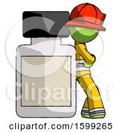 Green Firefighter Fireman Man Leaning Against Large Medicine Bottle