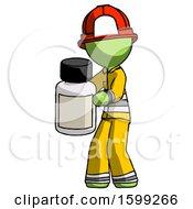 Green Firefighter Fireman Man Holding White Medicine Bottle