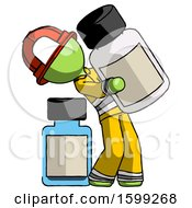 Green Firefighter Fireman Man Holding Large White Medicine Bottle With Bottle In Background