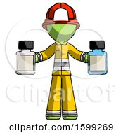 Green Firefighter Fireman Man Holding Two Medicine Bottles