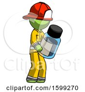 Green Firefighter Fireman Man Holding Glass Medicine Bottle