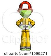 Green Firefighter Fireman Man Hands On Hips