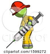 Green Firefighter Fireman Man Using Syringe Giving Injection