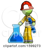 Green Firefighter Fireman Man Holding Test Tube Beside Beaker Or Flask