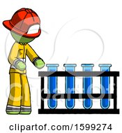 Green Firefighter Fireman Man Using Test Tubes Or Vials On Rack