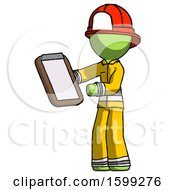 Green Firefighter Fireman Man Reviewing Stuff On Clipboard