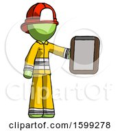 Green Firefighter Fireman Man Showing Clipboard To Viewer