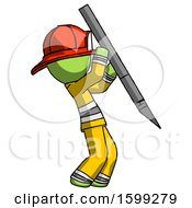 Green Firefighter Fireman Man Stabbing Or Cutting With Scalpel