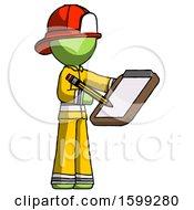 Green Firefighter Fireman Man Using Clipboard And Pencil