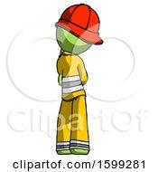 Green Firefighter Fireman Man Thinking Wondering Or Pondering Rear View
