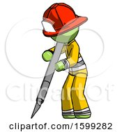 Green Firefighter Fireman Man Cutting With Large Scalpel