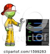 Poster, Art Print Of Green Firefighter Fireman Man Server Administrator Doing Repairs