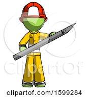 Green Firefighter Fireman Man Holding Large Scalpel