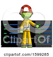Green Firefighter Fireman Man With Server Racks In Front Of Two Networked Systems